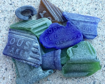 ENGLISH SEAGLASS - Group of  different Sized Beach Found Apothecary/Poison Glass Shards