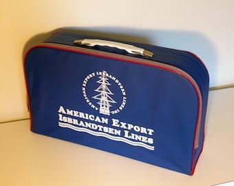 Vintage Cruise Ship Mini Suitcase American Export Isbrandtsen Lines Vinyl and Aluminum Luggage Mid Century Modern Blue Travel Bag