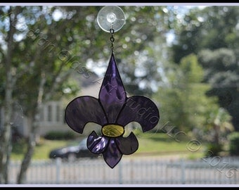 Purple and Gold (LSU colors)  Fleur de Lis Stained Glass Suncatchers