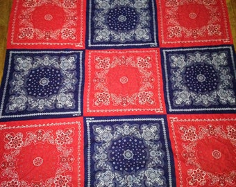 vintage ELEPHANT western rockabilly tapestry quilt red BANDANA LOT