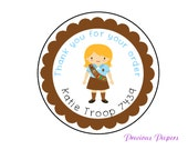 Personalized PRINTED  brownie stickers brownie favor sticker scout stickers brownie troop stickers cookie stickers