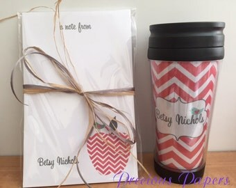 Personalized  Teacher notepad and travel mug set Teacher notepads teacher travel mug Teacher Gifts