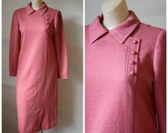 RESERVED Modest Day Dress / Vintage California Dress / Modest Secretaries Dress / Long Sleeve Knit Dress / Vintage Dress / Umba Dress M