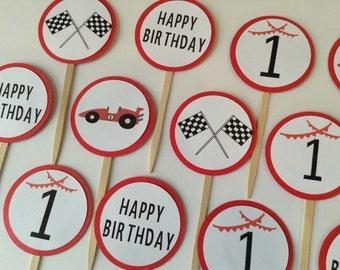 Race Car Cupcake topper racing food picks race car birthday party