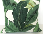 GREEN PILLOWS Lime green Outdoor Pillows Palm Leaves Green Decorative Throw Pillows Tropical Pillow 16 18 20x20 Teal Outdoor pillow covers