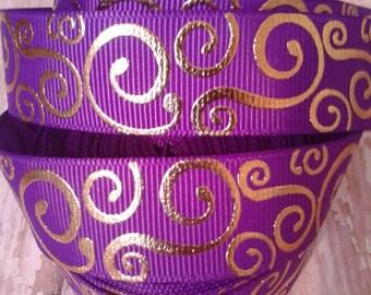 Purple with Gold Swirls Grosgrain Ribbon