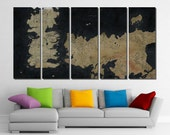 "5 Panel - 70"" wide x 40"" high Framed Game Of Thrones Map Gaming Art Prints Wall Canvas Art - Ready to Hang"