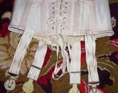 Very old vintage 20's cotton coutil corset girdle metal garter grips boned laced
