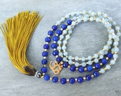 Boho tassel necklace Long gold tassel necklace Gold Om necklace Blue jade necklace Jade mala beads 108 mala bead necklace Mala wrap bracelet