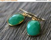 VALENTINE Sale Small Chrysoprase Green Chalcedony Drop Earrings, Emerald Green, Large Dangle, Large Drop, Gold Vermeil, Huge Teardrop