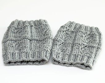 Boot Socks, Cozy Leg Warmers, Women's Boot Toppers, Hand Knit Boot Cuffs, Soft Wellie Cuffs, Ready to Ship - ash gray