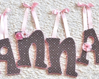 Nursery Letters, Wood letters, Girl Nursery Decor, Hanging Letters, Personalized Baby Shower Gift - The Rugged Pearl