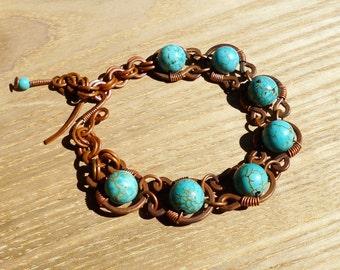 Handmade Copper Bracelet, Framed Turquoise Bracelet, Wire jewelry
