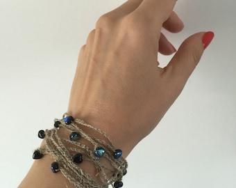 Crochet Linen Bracelet, Crochet Beaded Bracelet, Natural Linen and Glass Beads