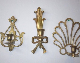 3  Brass Ornate Wall Candle Holder Sconces  Eclectic grouping of unique scroll  work wall hanging