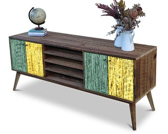 Flash Sale! Eco Recycled Solid Timber Modern Mid Century Retro Wooden TV Stand Entertainment Media Unit With Shelves in Teal Green & Yellow