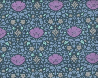 MIdnight Floral Damask Ethereal cotton fabric - blue orchid periwinkle - Camelot Cottons - by the continuous YARD