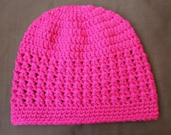 Pink Cross Stitch Crochet Adust Hat