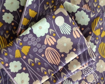 Organic Cotton Cloth Napkin Purple Floral by Smartkin