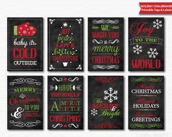 Christmas Tags Printable Chalkboard Red Green Digital Download Christmas Labels Holiday Tags Holiday Gift Tags Christmas Labels Favor Tags