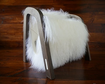 Oak wood Magazine Rack with genuine white rare Mongolian / Tibetan sheepskin rug - curly soft wool - Design Furniture by MILABERT