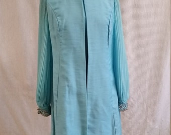 1970's blue party dress with matching vest