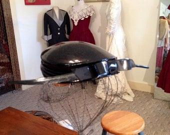 Vtg.50's Black Patent Hat w/Veil & Lg. Feather