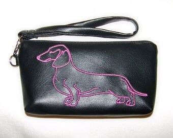 Elegant Black Clutch/Wristlet with Pink Embroidered Smooth HairDachshund