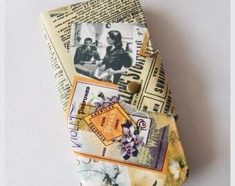 10% OFF Summer Sale - Long Passport Wallet, Passport Holder, Boarding Pass Case - Vintage Magazine
