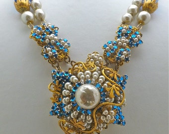 Miriam Haskell Faux Baroque Pearl Necklace and Bracelet