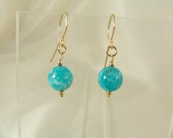 Amazonite 14k gold filled earrings MLMR gemstone handmade item 917