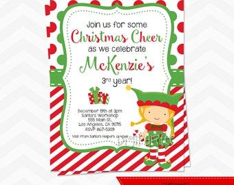 Christmas Elf Invitation
