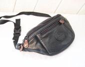 Black leather fanny pack, waist purse