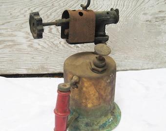 Rustic metal blow torch, rusty tools, primitive decor, rustic decor, copper torch