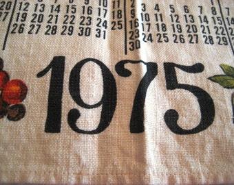 1975 calendar towel, kitchen towel, 1975 calender