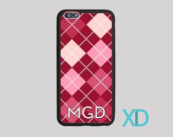 Monogram Pink Argyle iPhone or Samsung Case, Argyle Plaid, iPhone 6 Case, iPhone 6s Case, iPhone 5s Case, Phone Case, Edge Case, SE Case