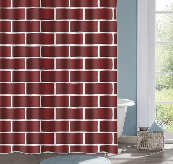 Maroon Brick Design Bathroom Shower Curtain Brick Wall Bath