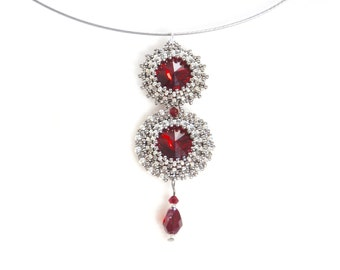 Silver and red beaded pendant necklace, crystal, Great Gatsby, Art Deco, flapper, Phryne Fisher, 1920s