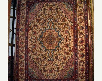 SUMMER CLEARANCE 1950s Semi-Antique Hand-Knotted Tabriz Persian Rug (1221)