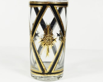 Vintage Culver Tumbler - Black and Gold Maltese Cross
