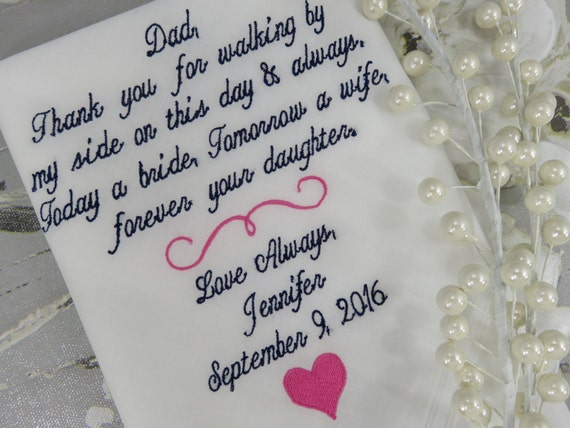 Father of the Bride Gift Embroidered Personalized Wedding Handkerchief Wedding Hankerchief Wedding Gift For Dad From The Bride Custom Hanky