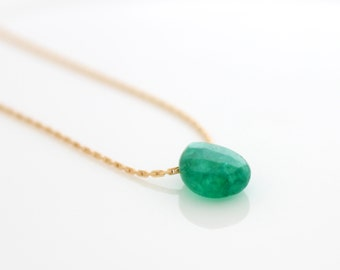 Green Drop Necklace • Gold necklace with a briolette jade drop pendant
