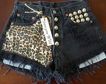 LEOPARD High waisted denim shorts super frayed with print and studs size S