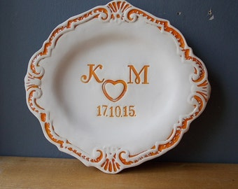 Personalized Wedding Plate / Decorative Dish / Ceramic Plate / Custom Plate / Wedding Gift