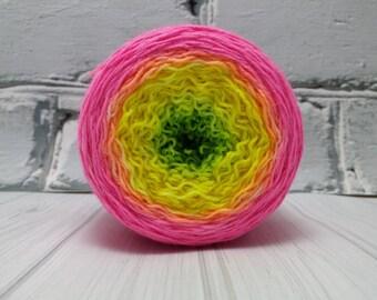 """Hand dyed gradient """"Really Bright"""" superwash merino sock yarn"""