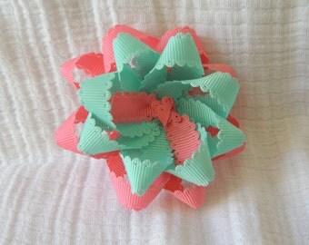 Pastel pink & mint green flower loop bow