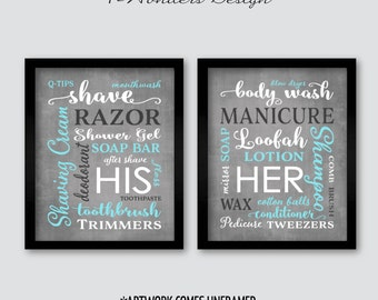 His Her Bathroom Wall Art Prints Set Of (2) 5x7 Or 8x10 Sizes,