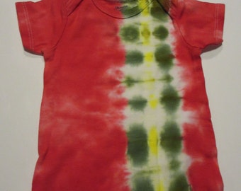 Red, Green, Yellow Striped Tie-Dye Baby T-Shirt ~ 18 mos.