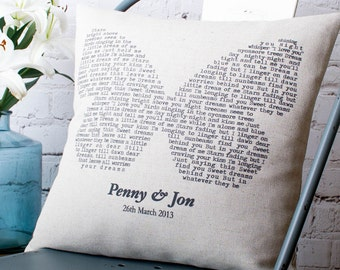 Personalised Butterfly Lyrics Pillow Cover