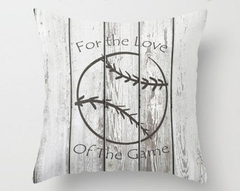 Distressed Stamped Baseball on Slatted Fence Art / Pillow Zippered Cushion Case Cover /Indoor or Outdoor 2-Sided 16X16 18X18 20X20 Square
